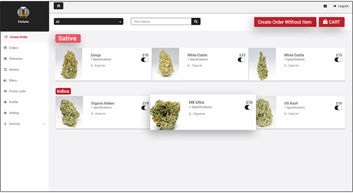 weedmaps like delivery store panel
