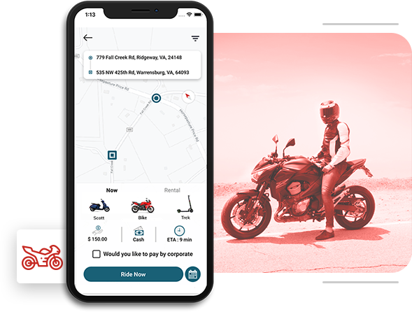 ubermoto clone app for bike sharing startup